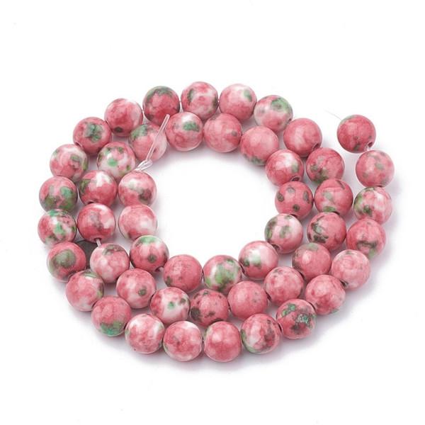 Pink  and Green Jade Beads, Splatter, Round, 10mm