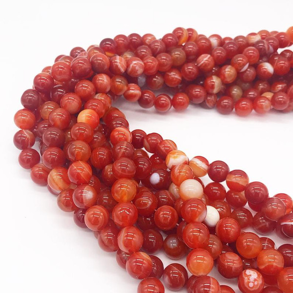 Agate, Orange Striped Round 10mm
