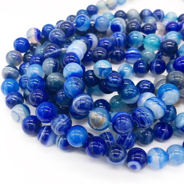 Agate, Blue Striped Round 10mm