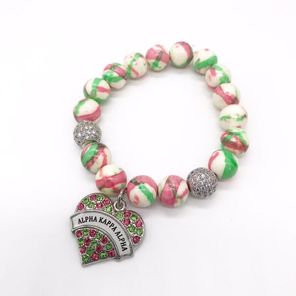 Alpha Kappa Alpha Bracelet with heart charm 2