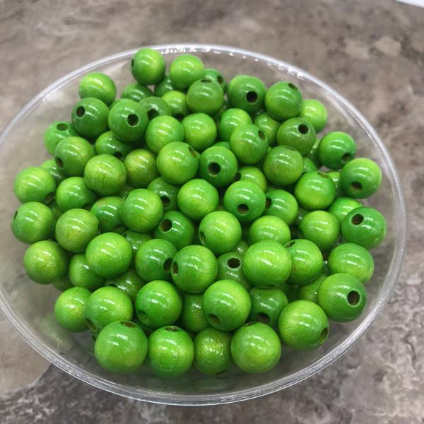 Green Wood Beads, Round, 10mm, 100 pcs