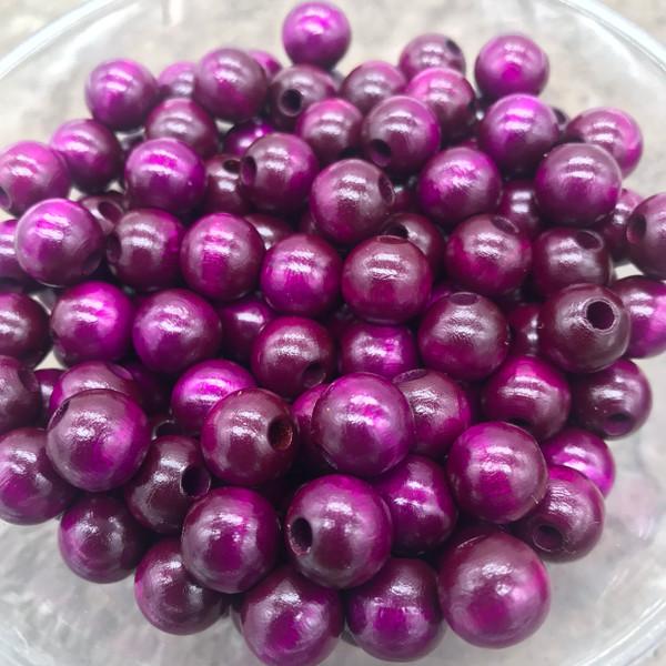 Purple Wood Beads, Round, 10mm, 100 pcs