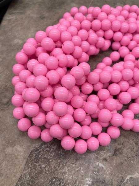 Glass Beads, Bubblegum Pink, Round,  10mm