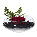 Majestic single red preserved rose elegantly placed on top of black pebble in a 6in fishbowl terrarium glass vase. Our glass vase collection has been designed and imagined to enhance the décor for any and every room. Petite arrangement of preserved roses is a small gesture with big impression.   Perfect for birthdays, anniversaries, holidays, or simply for capturing the moment! For further color requests or anything bespoke please contact our LJNY team. Available to include: chocolate Ferrero Collection; greeting card; rose scented essential oil/diffuser; rose scented candle.  Instructions: Please do not remove flowers from the arrangement, this will damage the flowers and arrangement. Flowers are natural and their sizes may vary.  No watering or maintenance is required so the recipient can continue to treasure the arrangement day after day. Handle with care. Do not expose to direct light or excessive heat. Preserved roses will keep radiating beauty for up to a year. LJNY flowers are naturally preserved and may have a slight variation in shape and color.