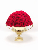 Rose Arrangement in the Brass Flower Vase - Fresh