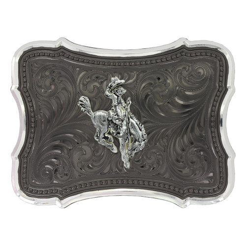 Gunmetal Scalloped Point with Ranch Rodeo Buckle by Montana Silversmith 30910SB-593
