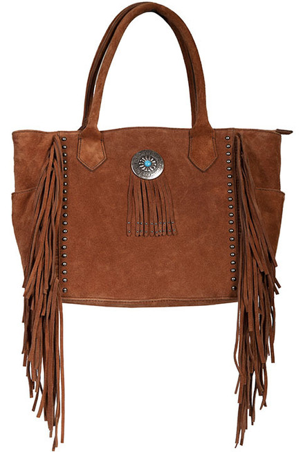 Leather Fringe and Studded Handbag by Scully Leather B187