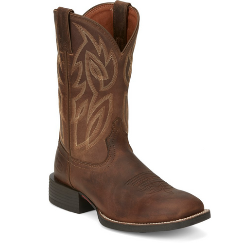 Men's Cantor Wide Square Toe Brown Boot By Justin SE7510
