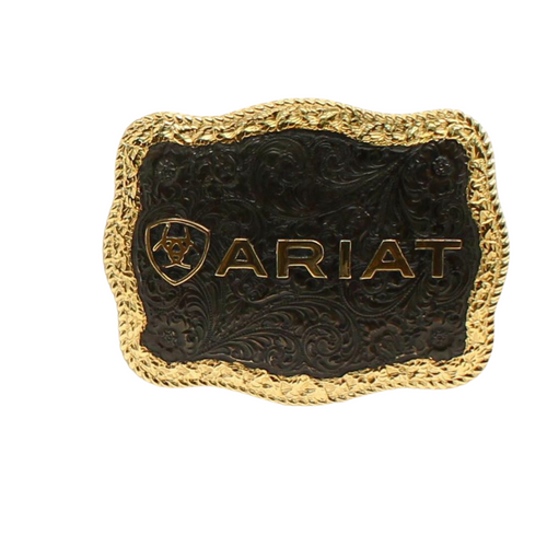 Ariat Antique Silver and Antique Gold Rectangle Buckle With Rope Edge  A37014