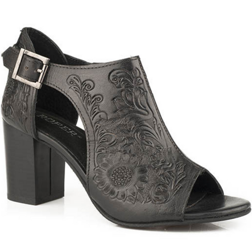 Women's Black Floral Tooled Leather Open Toe Sandal By Roper 09-021-0946-2673 BL