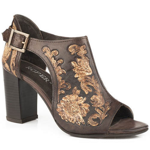 Women's Brown/Beige Tooled Leather Open Toe Sandal 09-021-0946-2674 BR