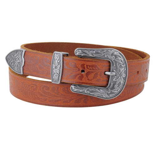 Tan Tooled Leather Belt by Most Wanted 5053TAN
