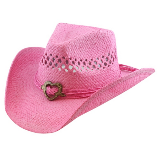 Pink Straw Hat with Heart OSFM R50 Pink