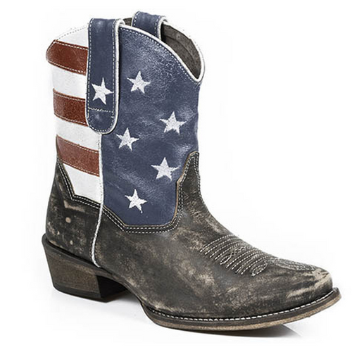 Women's American Flag Distressed Leather Shorty Boot 09-021-0977-0102 BR