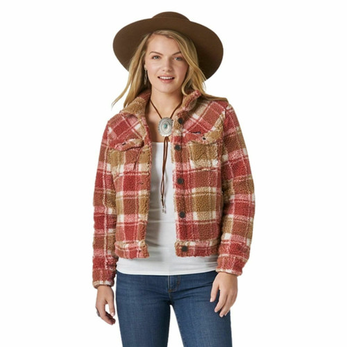 Women's Wrangler Retro® Plaid Overall Sherpa Jacket In Red/Brown LWJ326E