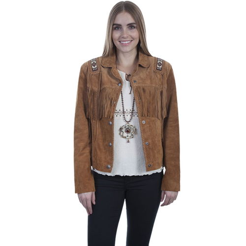 Women's Hand Laced Beaded Trim Jacket By Scully L758