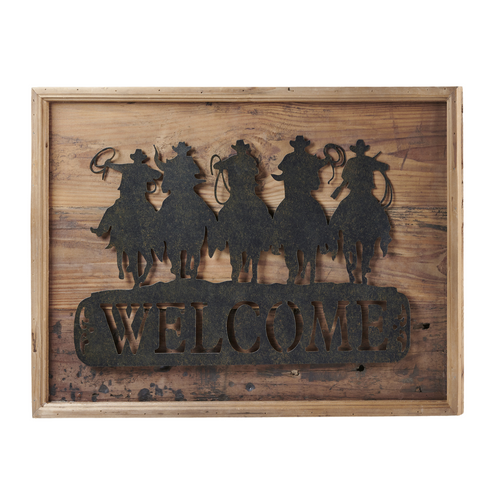 """Wood/Metal Cowboy with Horse """"Welcome"""" Sign 093955"""