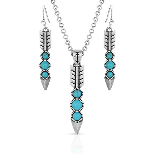 Falling Silver Feather Jewelry Set JS5033