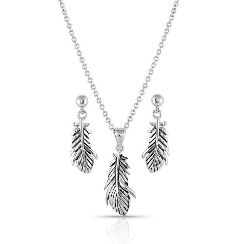 Silver Feather Jewelry Set JS4933