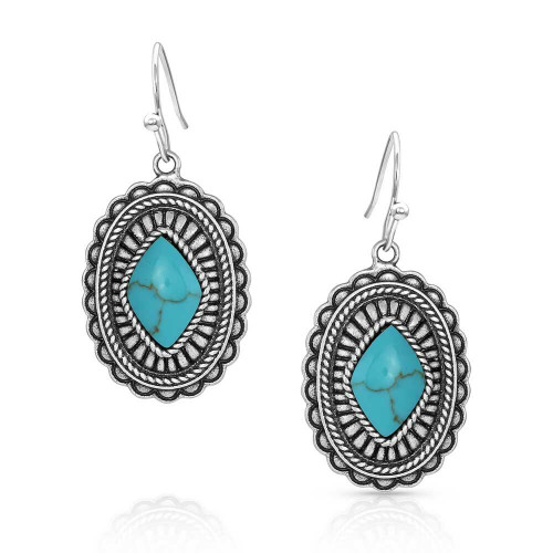 Turquoise Stamped Pendant Earrings ER5035