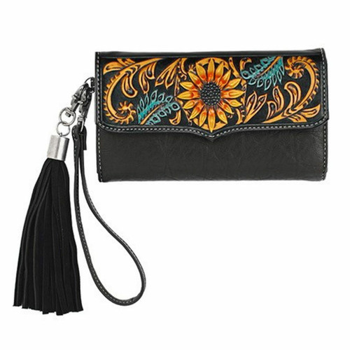 Nocona Norma Clutch Wallet in Black with Sunflowers N770008201
