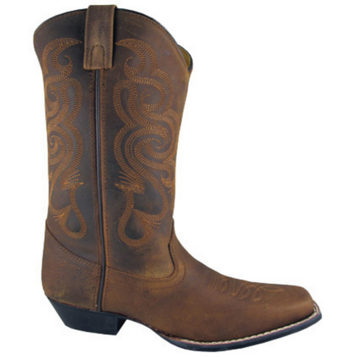 Women's Distressed Brown Square Toe Western Boot 6274