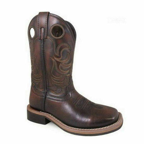 Children's Landry Chocolate Leather Square Toe Western Boot 3722