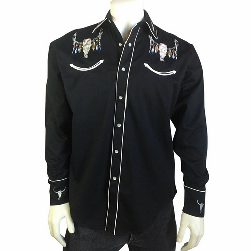 Men's Steer Skulls with Feathers Embroidered Western Shirt in Black 6841-BLK