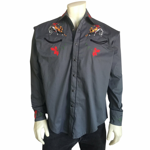 Men's Vintage Bronc Embroidered Western Shirt in Grey 6840-GRY