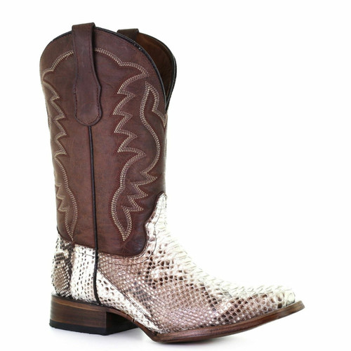 Men's Natural/Brown Python Embroidered Square Toe Western Boot L5740
