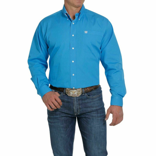Men's Solid Royal Blue Long Sleeve Button Down Shirt MTW1105253