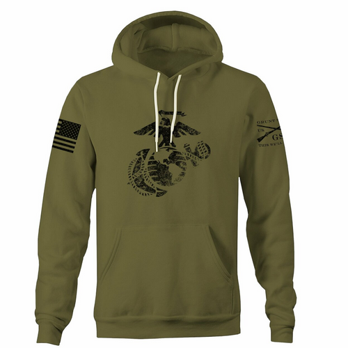USMC - EGA Hoodie in Military Green by Grunt Style GSMC0097