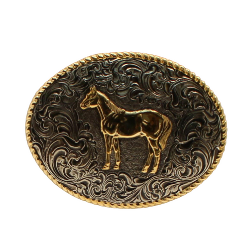 Oval Roped Edge Standing Horse Antique C02112