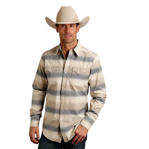 Men's Stetson Ombre Stripe Twill Long Sleeve Shirt By Roper 11-001-0476-6056 WH