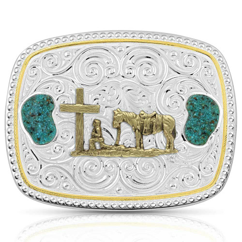 Winding Roads Christian Cowboy Turquoise Belt Buckle by Montana Silversmiths 46910-731M