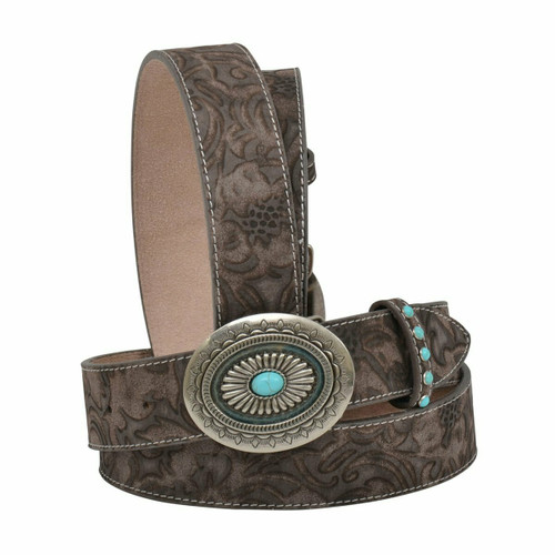 """Women's 1 1/2"""" Belt with Floral Tooling Silver Buckle with Turquoise Accent DA3765"""