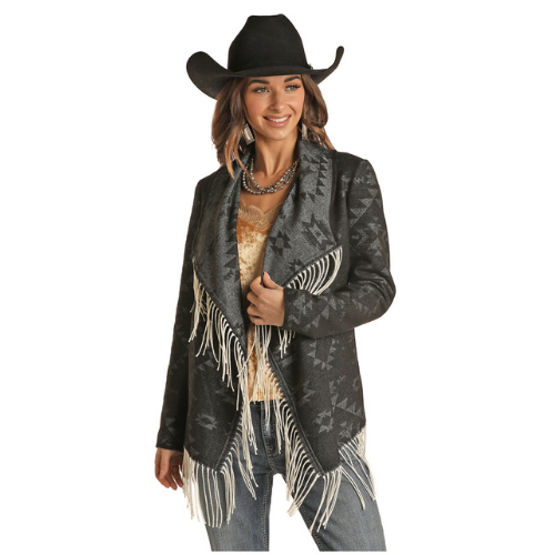 Women's Jacquard Wool Jacket With Fringe By Panhandle 52-1016
