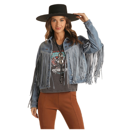 Women's Short Jacket With Tonal Suede Fringe By Panhandle 52-1708