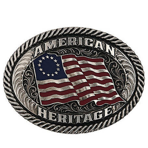 Betsy Sparkling Patriotic Attitude Belt Buckle By Montana Silversmiths A869