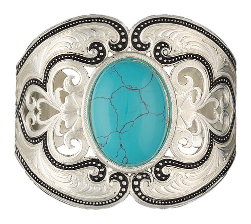 Silver Pinpoints Lace Cuff Bracelet with Turquoise by Montana Silversmiths BC2106