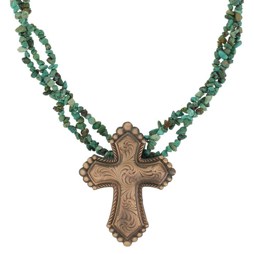 Sign of Faith Vintage Bronze Cross Turquoise Necklace by Montana Silversmith NC4041BLB