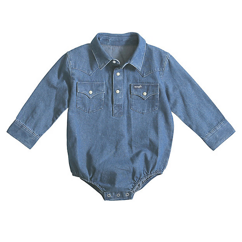 Infant Long Sleeve Denim Bodysuit By Wrangler PQ1371D
