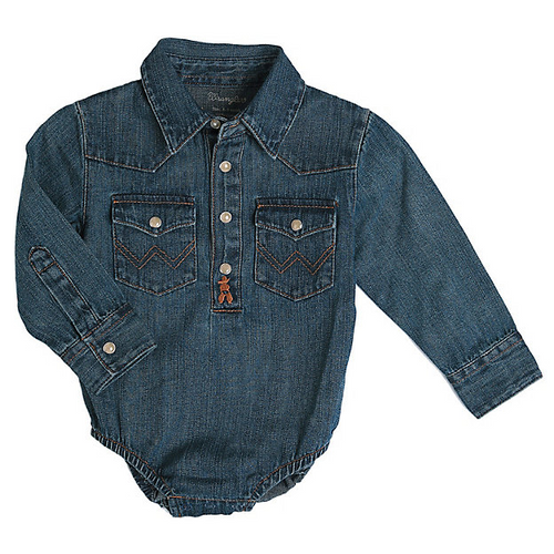 Infant Long Sleeve Denim Bodysuit By Wrangler PQ4165D