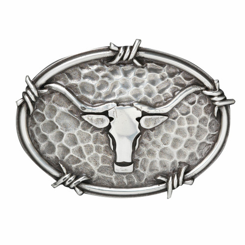 Ariat Oval Steer Head and Barbwire Edging Buckle by M&F A37050