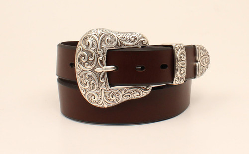Women's Brown Leather Scroll Belt By Ariat A1523202