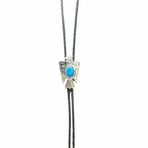 T-Bird with Turquoise Stone Bolo Tie by Fashionwest 1137T