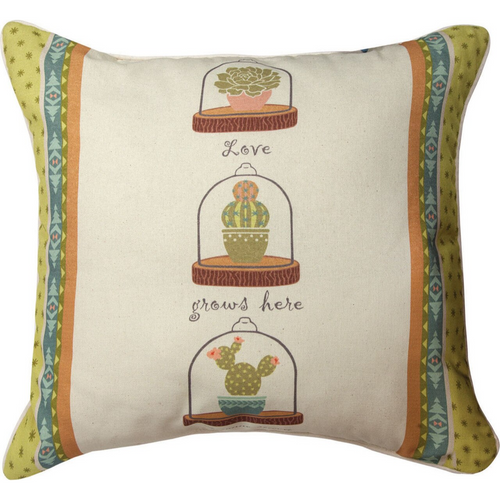 Cactus Flower Love Pillow by Manual Woodworkers SLCCGH