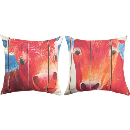 Patriotic Animals Cow Pillow by Manual Woodworkers SLPACW