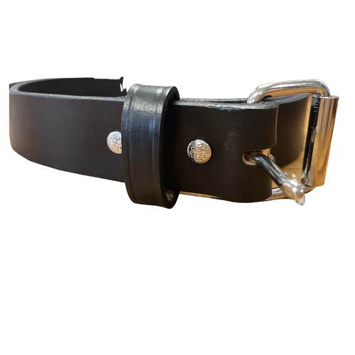 """Black 1 1/4"""" Hand crafted Leather Belt by H. Miller & Sons 305"""