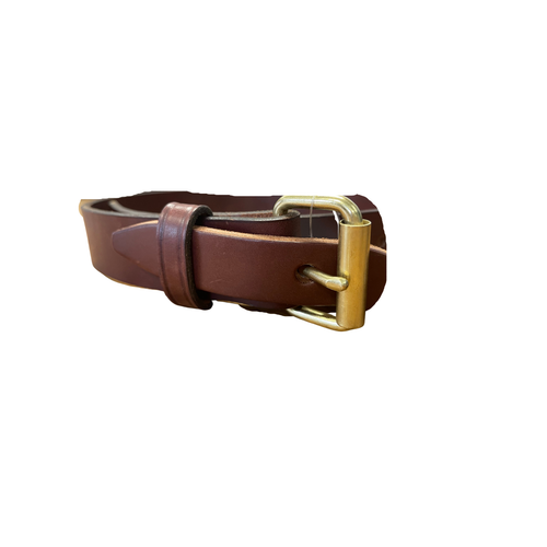 """Brown 1 1/4"""" Handcrafted Leather Belt by H. Miller & Sons 310"""